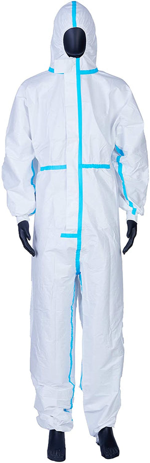 Coveralls for Men, Women, Protective Coverall Suit with Hood, Disposable Full Body Isolation Gown, Lightweight, Breathable & Durable