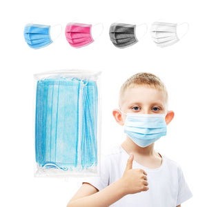 40 Pack of Kids Disposable Face Masks – Choose your Color