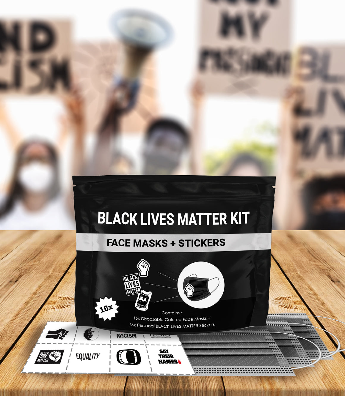 Black Lives Matter Mask Kit + Stickers. 16 Disposable Face Masks & 16 Assorted #BLM Movement Stickers