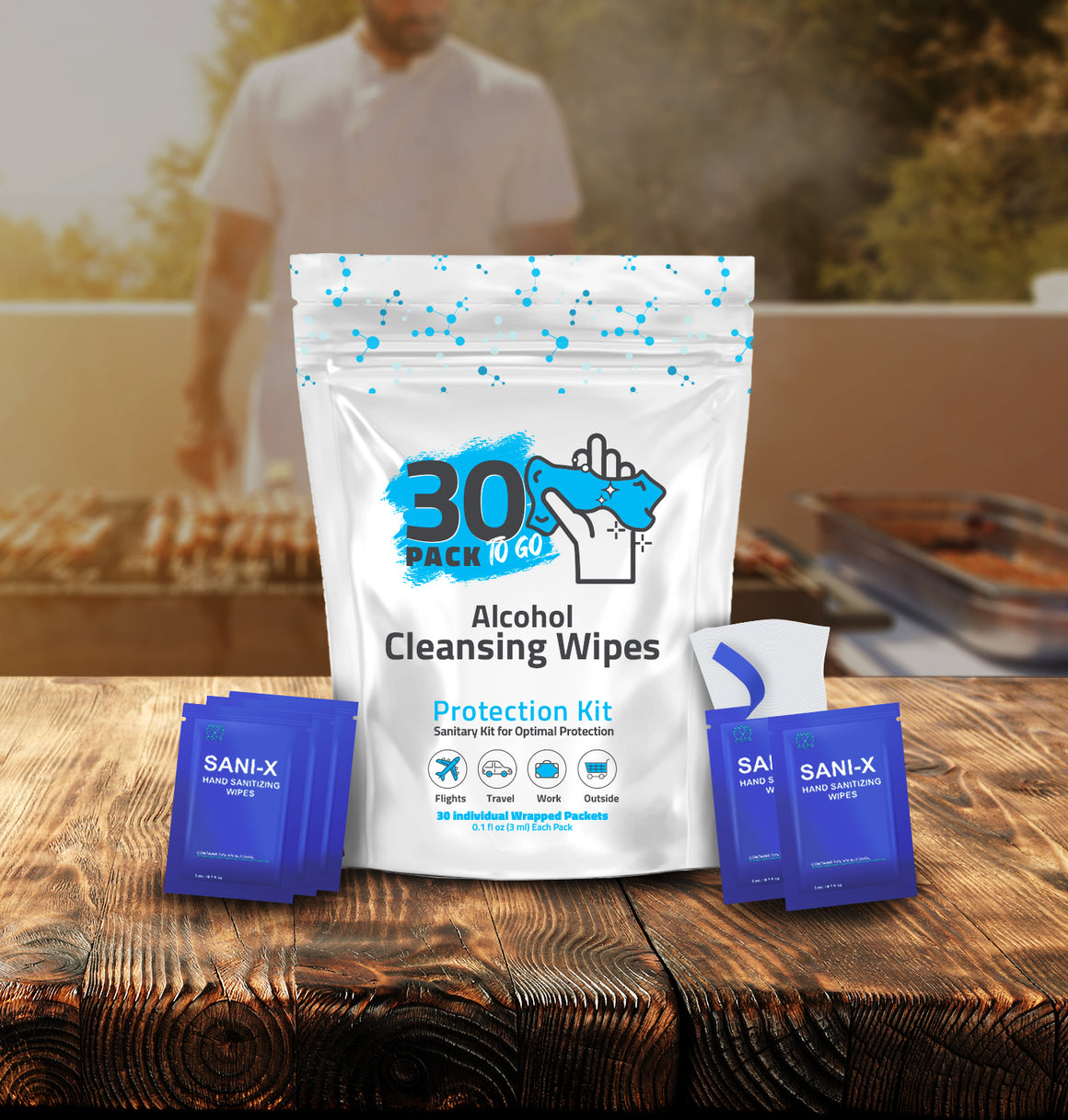 30 Pack - Hand Sanitizing Wipes, Individually-Wrapped, 70% Alcohol
