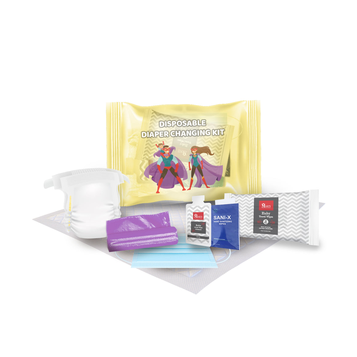 Disposable Size 3 Diaper Changing Kits for Baby On-The-Go
