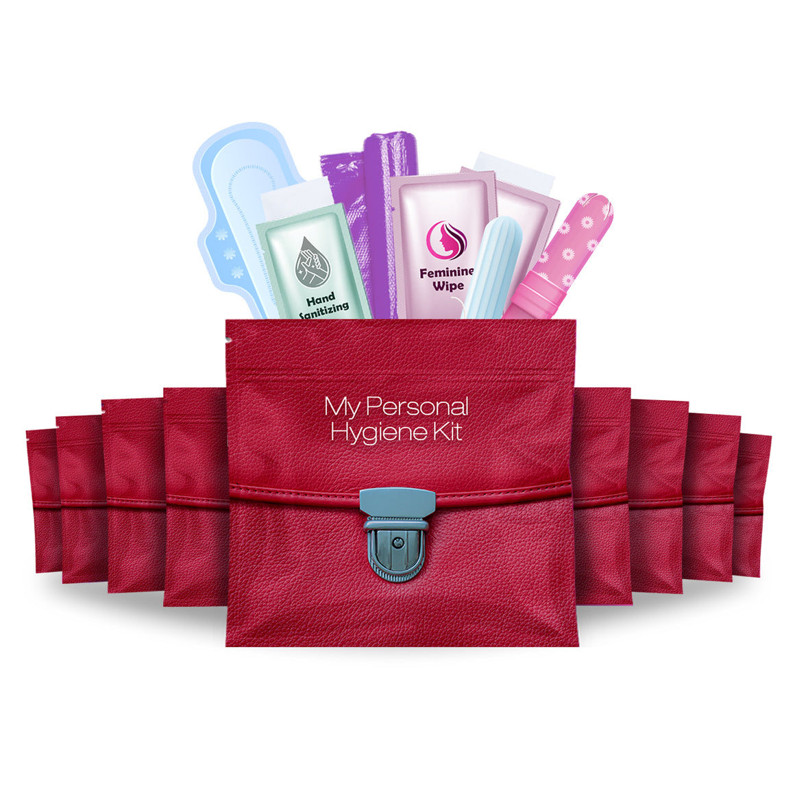 Feminine Hygiene Kit Red Purse Pack of 10