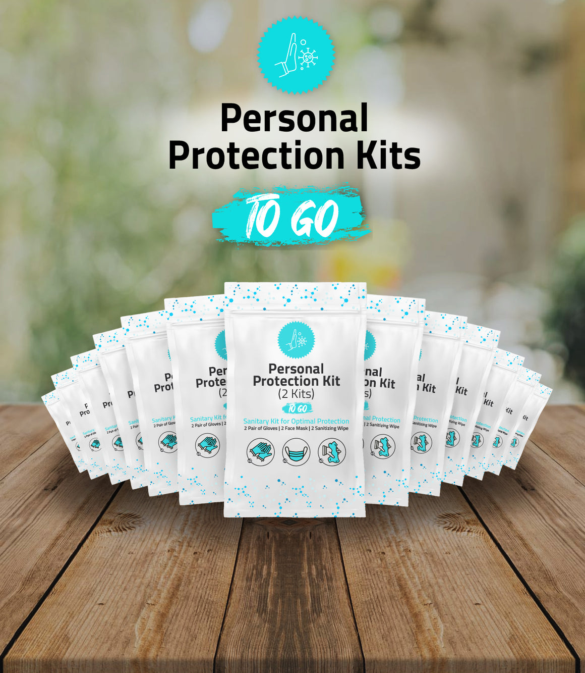 2 Piece - All-In-One Personal Protection Kit TO GO – Sanitary Kit for Optimal Protection.