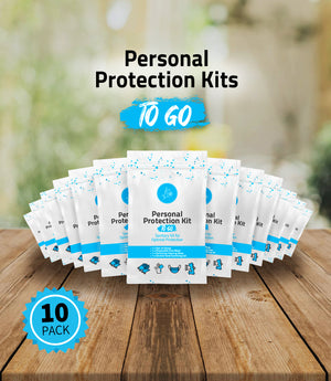 4 Item - Single Use Protection Kit to GO - Contains Disposable Gloves, Hand Wipe, Disposable Face Mask, Sanitizer Gel Packet