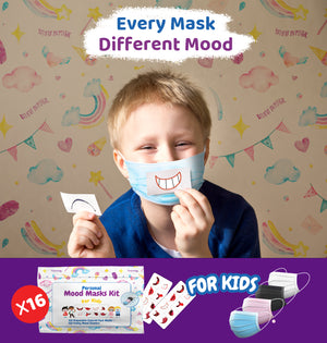 16 Kids 3-ply Disposable Face Masks in 4 Colors+ 16 Personal Mood Stickers