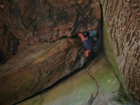 lead climbing trad route in red river gorge