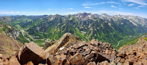 Alta Snowbird Panorama from Mt Superior Summit Utah