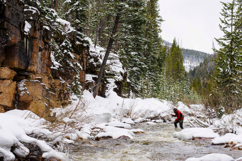 mountain life fly fishing snow covered stream uinta mountains utah