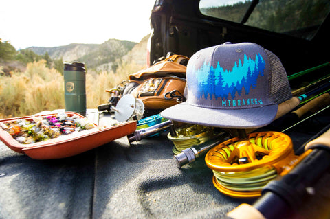 Mountain inspired flat bill hats