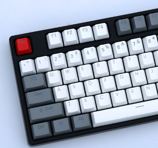 PBT Gray White Keycaps for Mechanical Keyboard