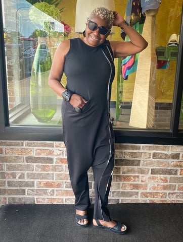 Gwen from Team Essential Elements Chicago wearing Just Sofia Black Jumpsuit with Fly London Shoes