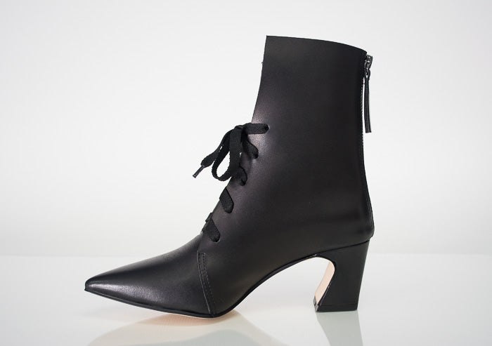 All Black Tie Angle Bootie