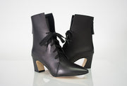 RESTOCKED All Black Tie Angle Bootie