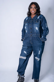 Denim Jumpsuit Plus Size