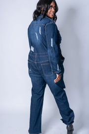 Denim Utility Jumpsuit | PLUS