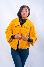 Faux Curly Lamb Cropped Jacket