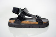 All Black Pressed Croc Low Form Sandal