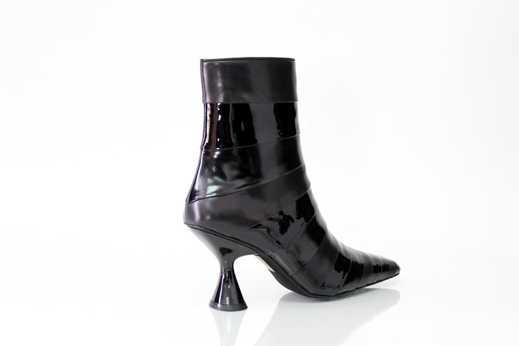 Jeffrey Campbell Layover Black Pointed Toe Ankle Boot Patent Leather