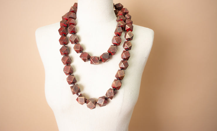 Jianhui 2-Tone Chunky Faceted Wood Necklace