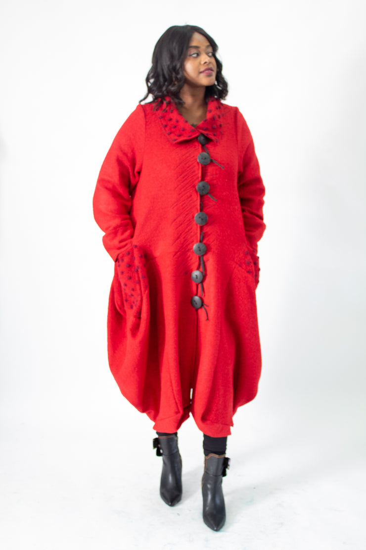 Mara Gibbucci 19-05 Red Wool Coat with Black oversized buttons