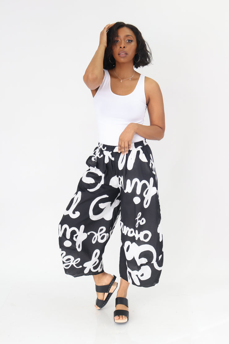 Rundholz White Print Pants - Essential Elements Chicago