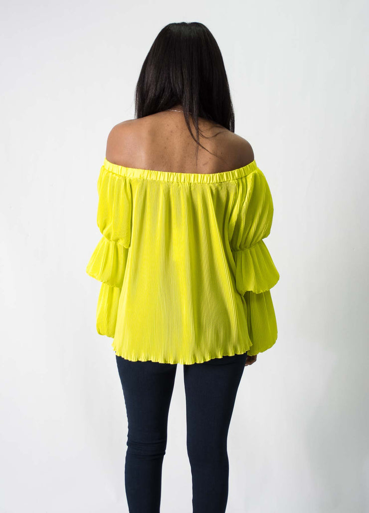 WHY Pleats Off-The-Shoulder Top