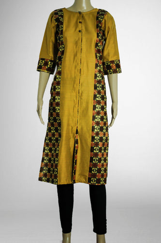 Ivory with Printed Gold Kurthi