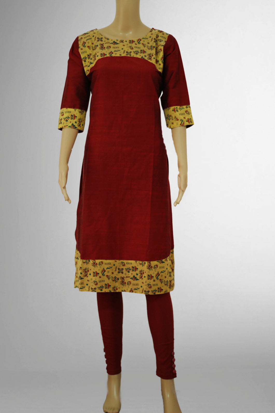 Dark Red with Printed Gold Kurthi