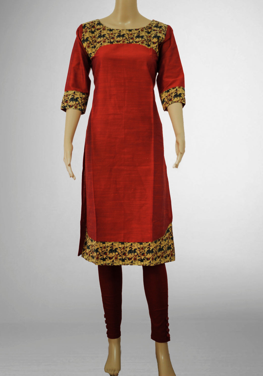 Light Red with Printed Gold Kurthi
