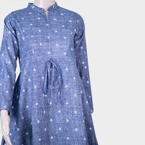 Blue Cotton Jeans Kurthi
