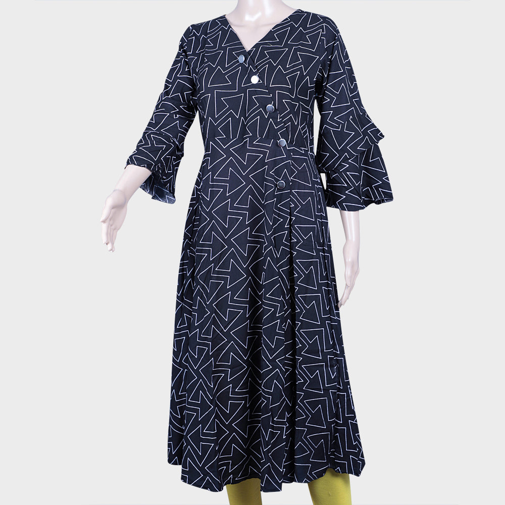 Arrow Print Black Kurthi