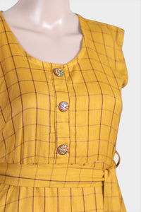 Grid Yellow Kurthi
