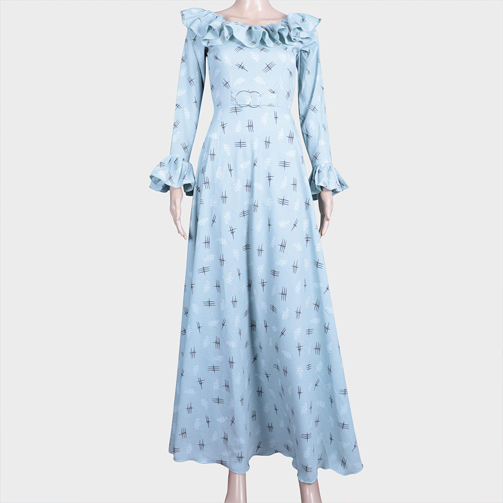 Light Blue Dobby Print Gown