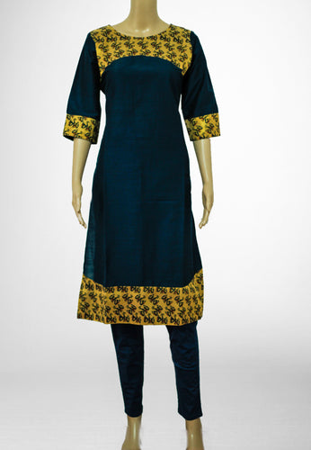 Dark Blue with Printed Gold Kurthi