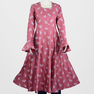 Pink Pearl Round Neck Umbrella Kurthi