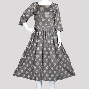 Ash Pleated Kurthi