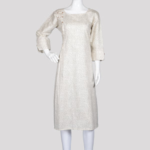 Off White Pleated Kurthi