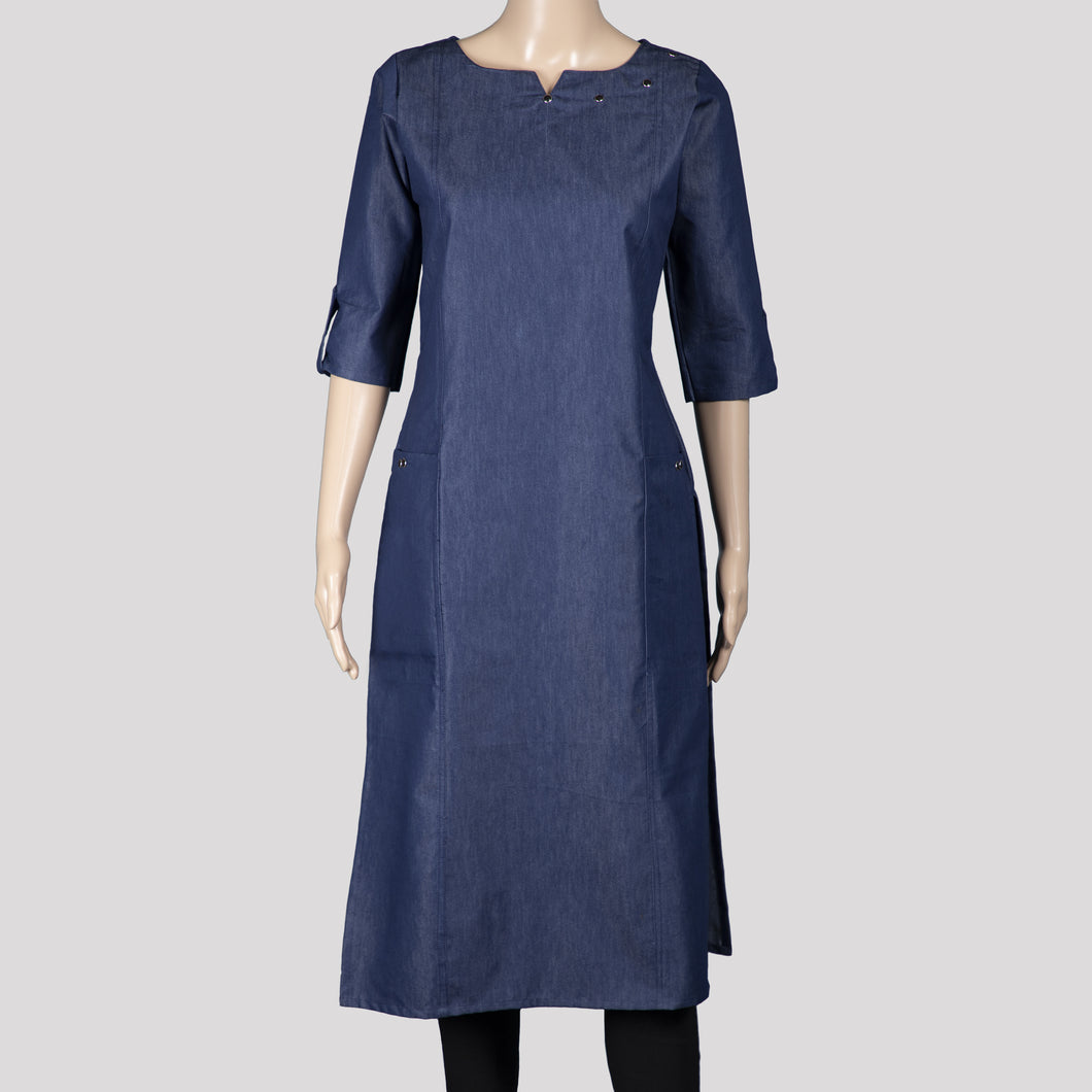 Denim Twin Pocket Kurthi