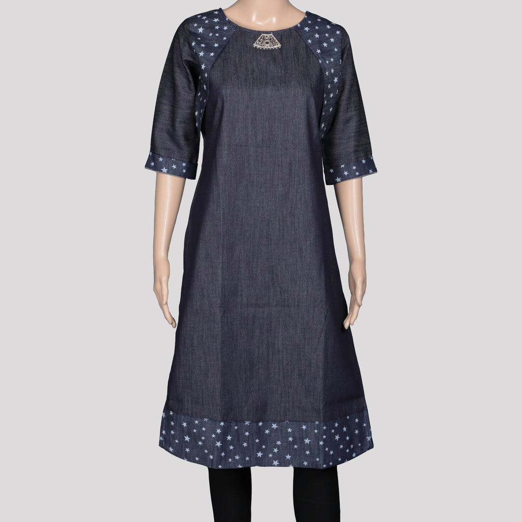 Denim Star Jacket Kurthi