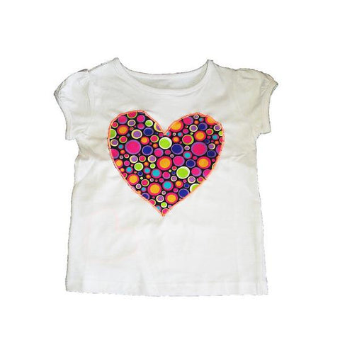 Hand-Crafted Girls' Heart T-Shirt 'Bubblicious'