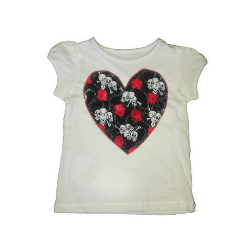 Hand-Crafted Skulls and Roses Girls' T-Shirt 'Rock Chick'