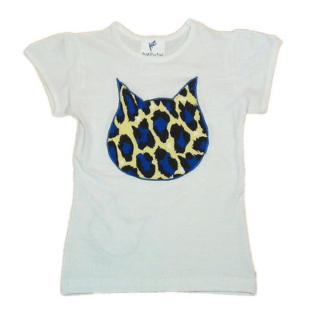 Hand-Crafted Girls' Big Cat T-Shirt 'Blue Leopard'