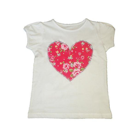 Hand-Crafted Girls' Heart T-Shirt 'Flower Girl'