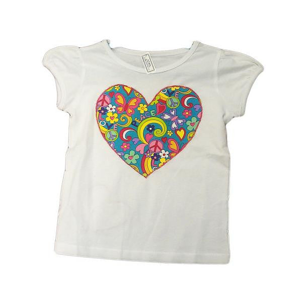 Hand-Crafted Girls' Heart T-Shirt 'Hippy Chick'