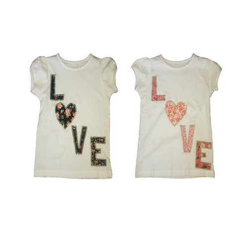 Hand-Crafted Girls' T-Shirt 'Love'