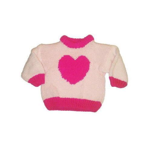 Hand-Knitted Pink Baby Heart Jumper