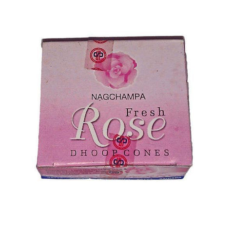 Nag Champa Fresh Rose Incense Dhoop Cones
