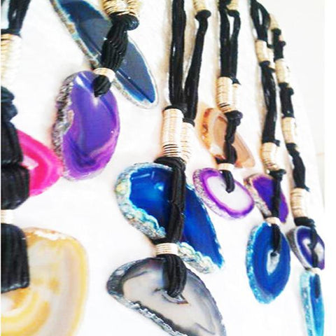 Long-Line Handmade Agate Slice Necklaces