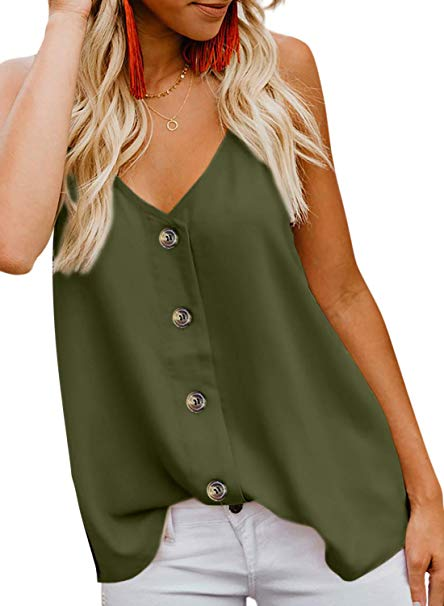 Women's Button Down Strappy Tank top blouse - Candy-Rain-Drop-Shop