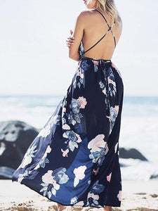 Women's Sexy Deep V Neck Backless Floral Maxi Party Dress - Candy-Rain-Drop-Shop